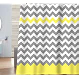 Sunlit Zigzag Yellow and Gray White Chevron Shower Curtain. Geometric Print Pattern Lines and Contemporary Stripes Modern Design Prined Fabric Bathroom Decor. Light Grey Lemon Color Block Hem