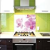 Crédence en Verre, Crédence De Cuisine, 75x60cm, Orchidée, UltraClear ® Glass