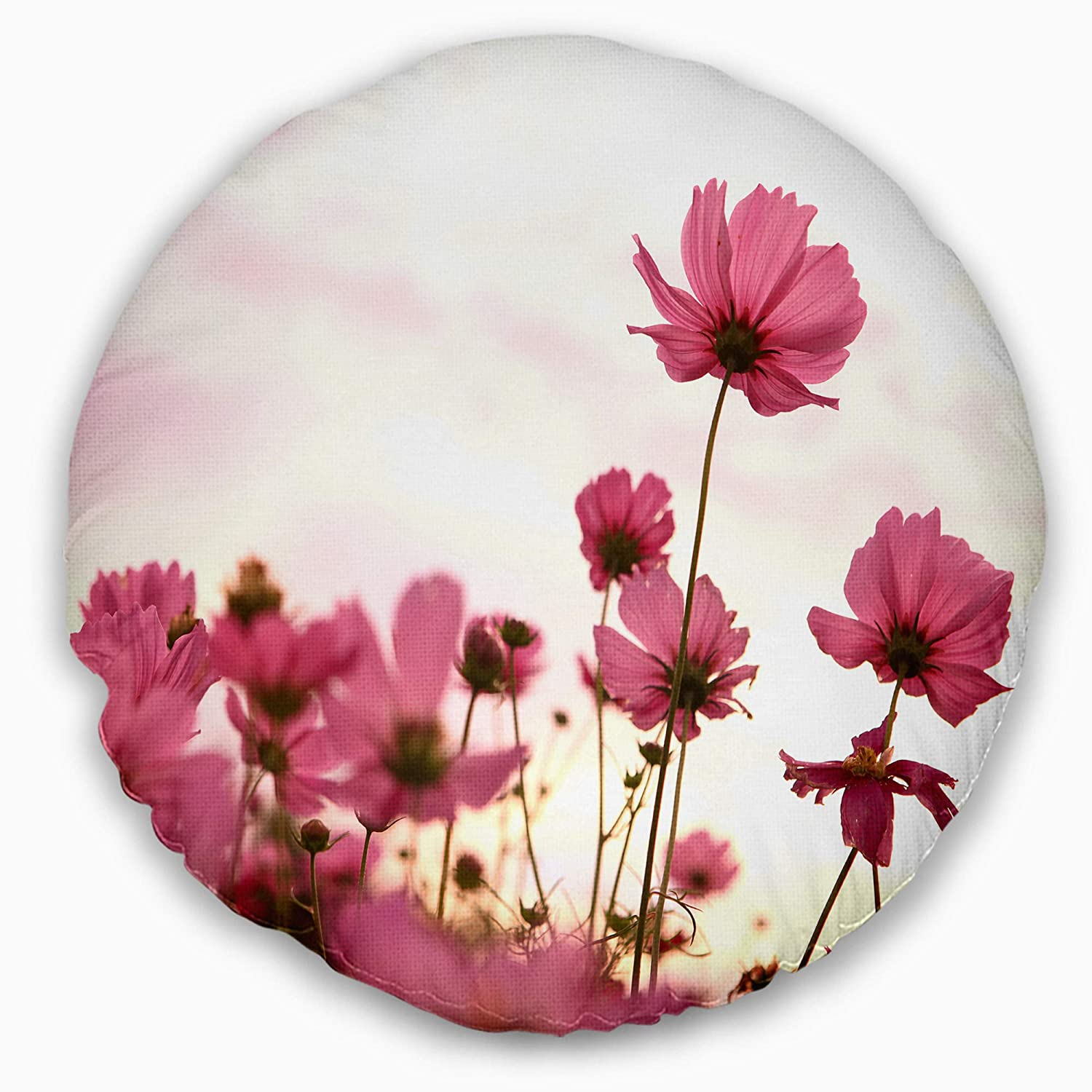 Throw Pillow Designart CU13021-16-16-C Cosmos Flowers Meadow at Sunset Floral Round Cushion Cover for Living Room Insert Printed On Both Side Sofa 16