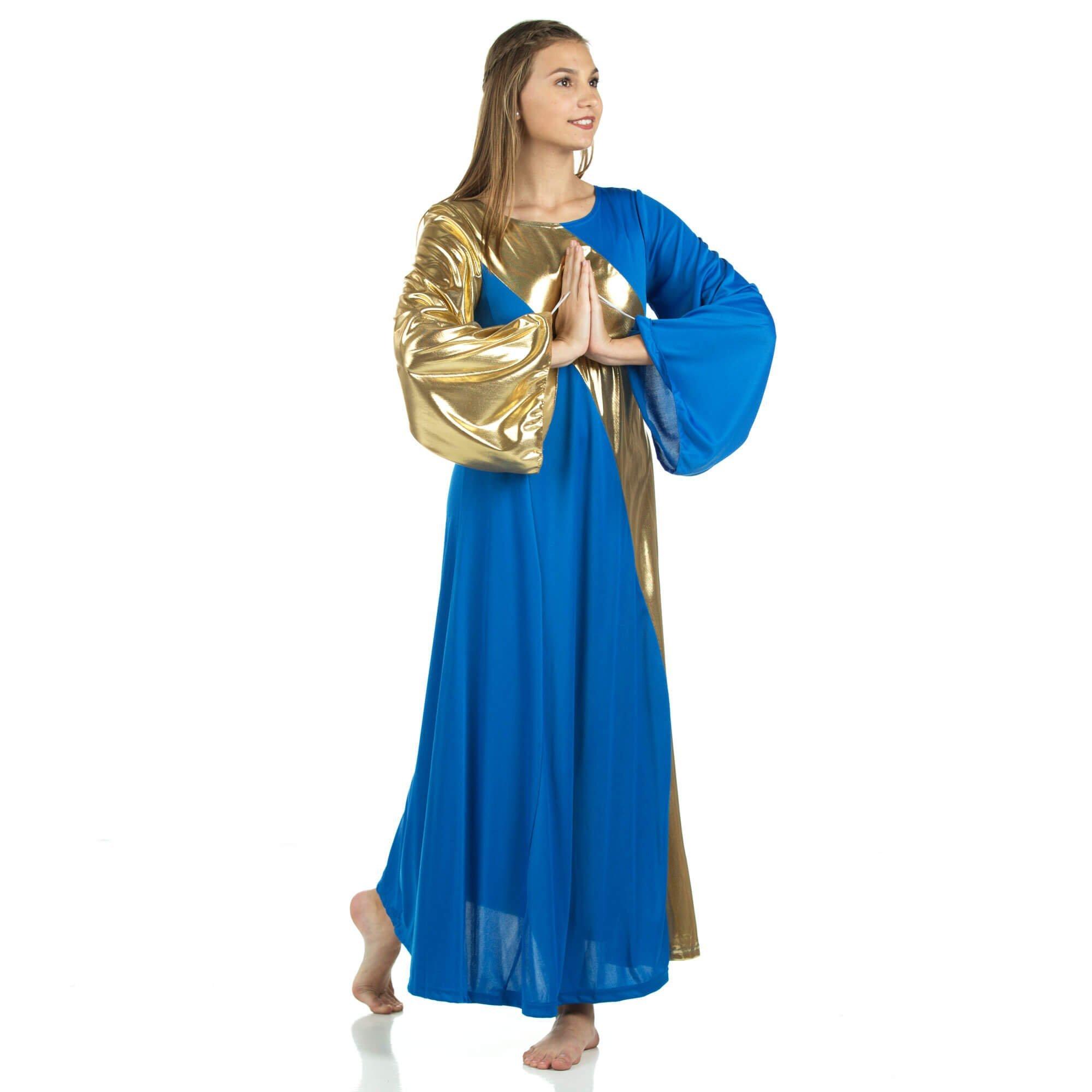 3f00f2e953cd Danzcue Womens Asymmetrical Bell Sleeve Dance Dress, Bright Royal-Gold, M