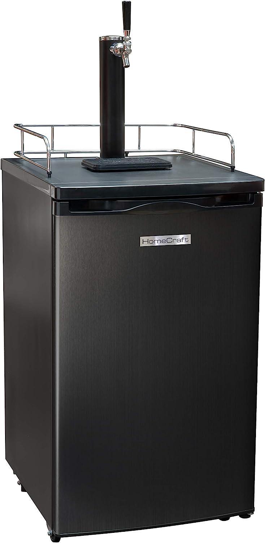 Homecraft Black Stainless Steel Full-Size Kegerator Draft Beer Dispenser & Beer Cooler, Spring-Loaded Tap Dispenser, Holds 1/6, 1/4, 1/2 Barrels, 2.5-Pound CO2 Tank, Single Meter Regulator