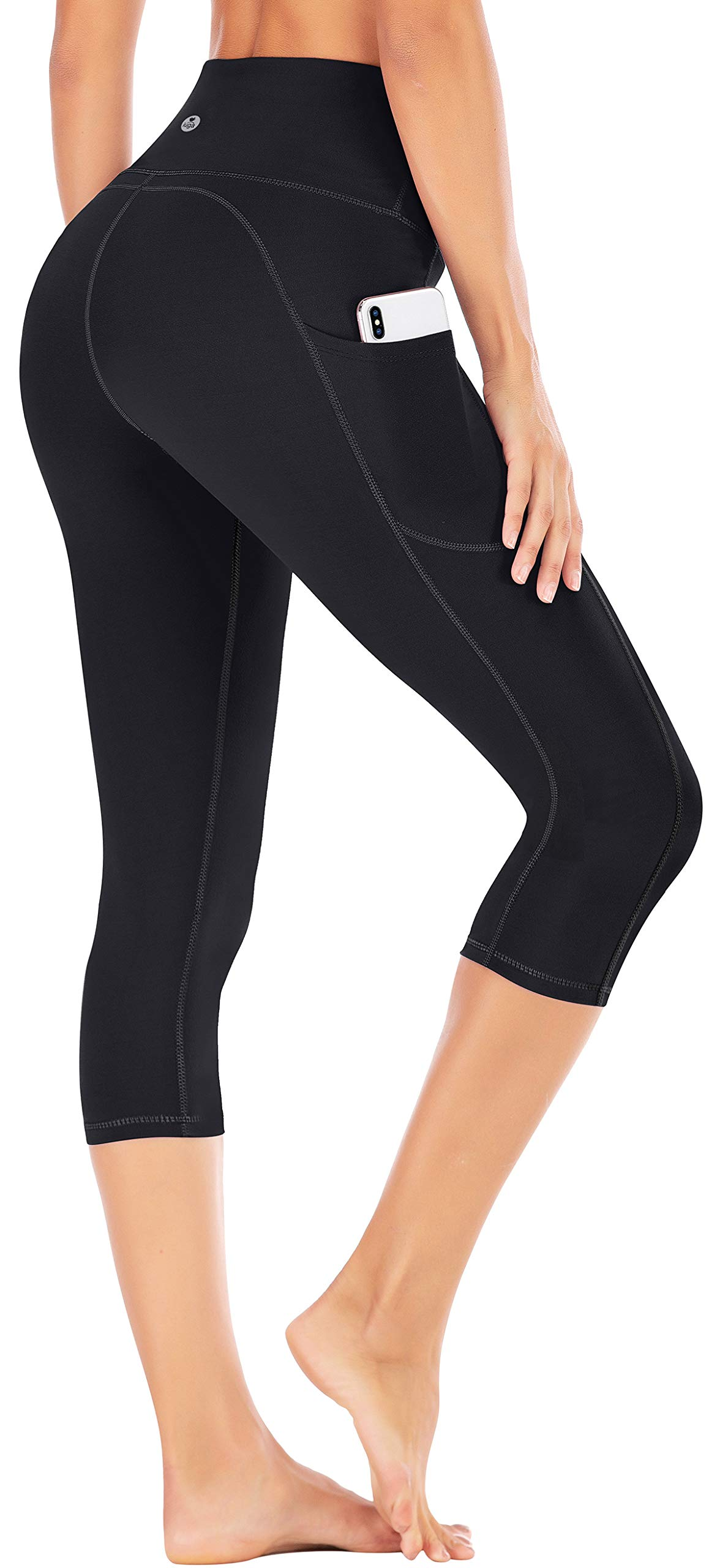IUGA High Waist Yoga Pants with Pockets, Tummy Control Yoga Capris for Women, 4 Way Stretch Capri Leggings with Pockets(Black, XL) by IUGA