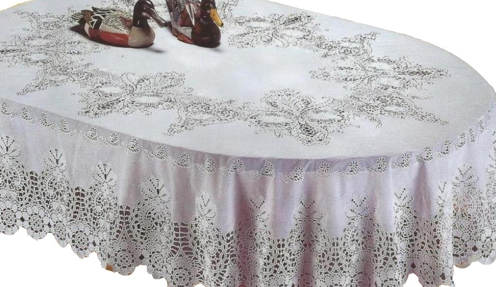 RJ Quality Product 941-60x90 Oval Design Crochet Tablecloth Off White