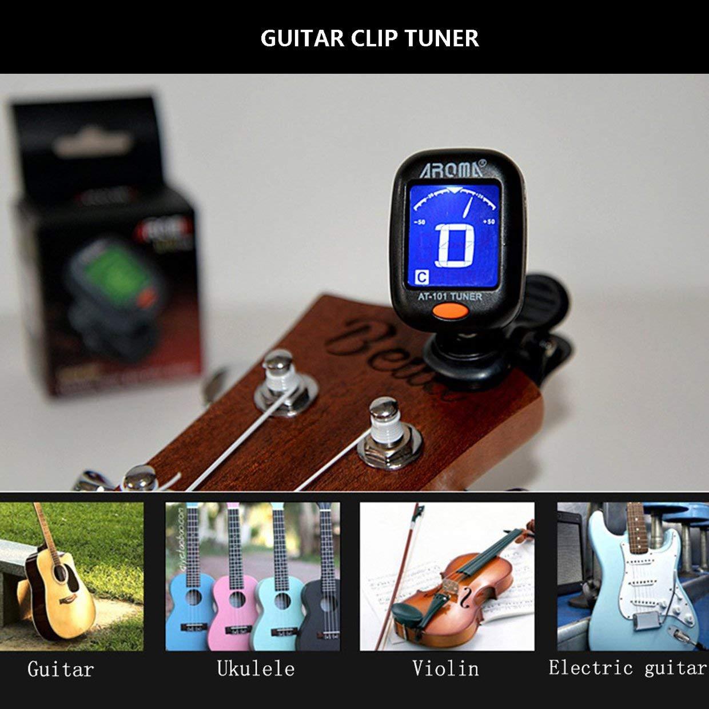MXECO AT-101 AROMA Mini Tama/ño Tipo de clip Sintonizador de instrumento de guitarra Guitarra Bajo Ukulele Sintonizador de clip digital el/éctrico