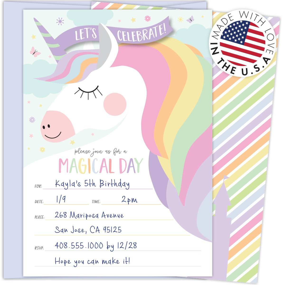 Amazon.com: Koko Paper Co Magical Unicorn Invitations with ...