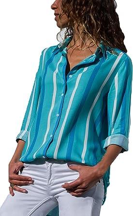 Aranmei Blusa Mujer Chiffon Camisa De Manga Larga Elegante Colorido a Rayas Cuello V Camisas (S-XXL): Amazon.es: Ropa y accesorios