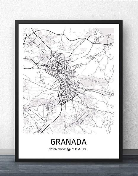 ZWXDMY Imprime el Lienzo, Granada, España Mapa de la Ciudad Moderno, Negro, Blanco, Pintura Simple, Arte Minimalista, póster Mural, Sala de Estar, decoración de café Vertical, 30 × 40 cm: Amazon.es: Hogar