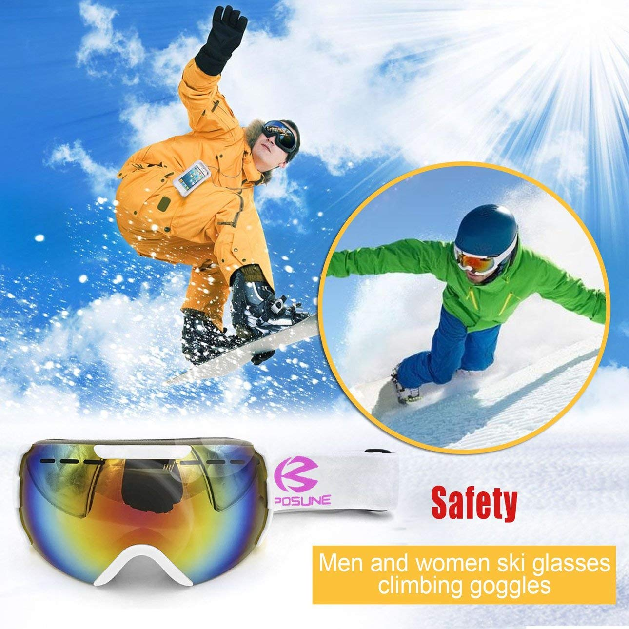 eb518ad28bdc Ballylelly Bright White Men Women Sposune Skiing Goggles Double Layers  Outdoor Winter Snow  Amazon.in  Clothing   Accessories