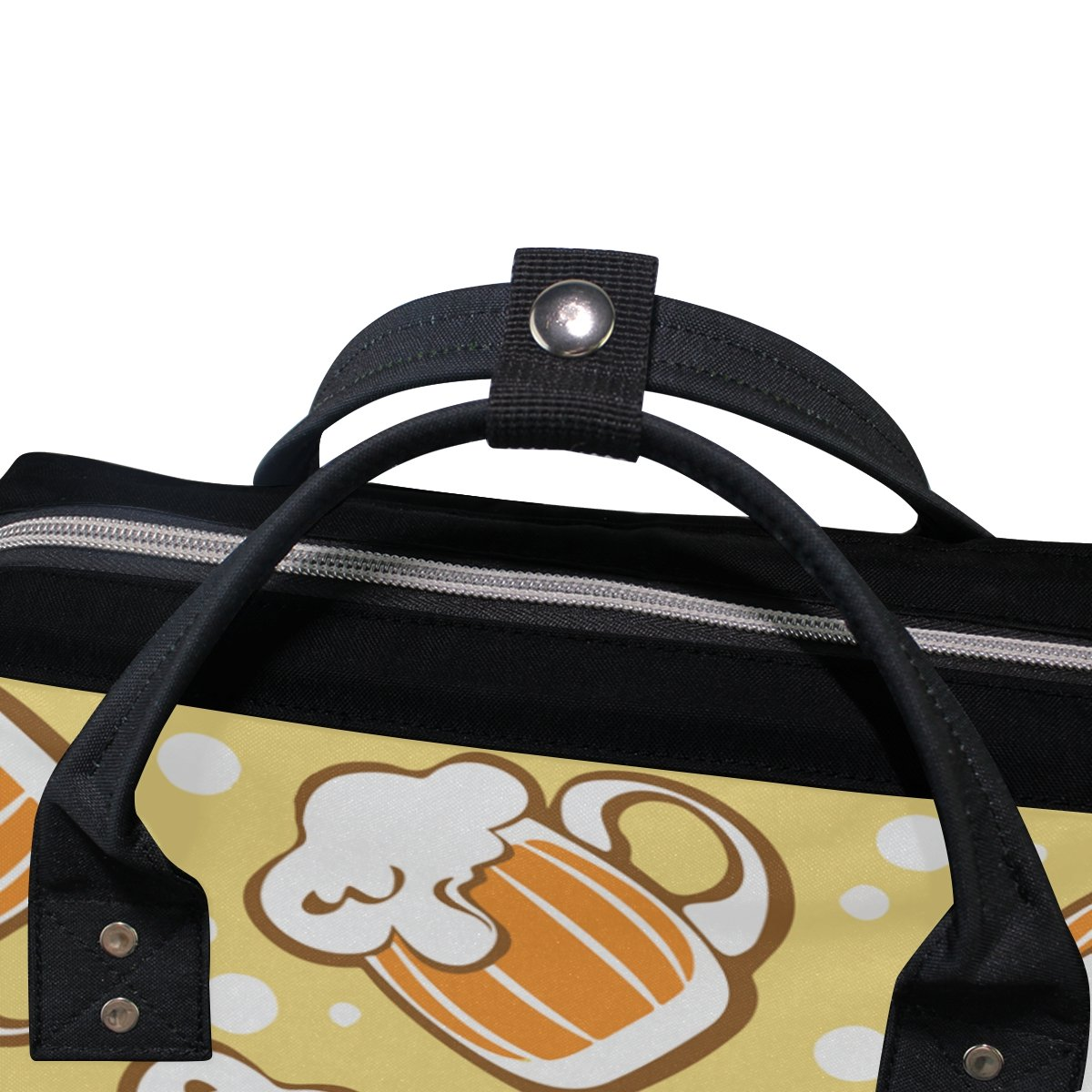 imobaby Stylized Beer Mugs Pattern Changing Bags Large Capacity Handbags Canvas Shoulder Bag Backpack