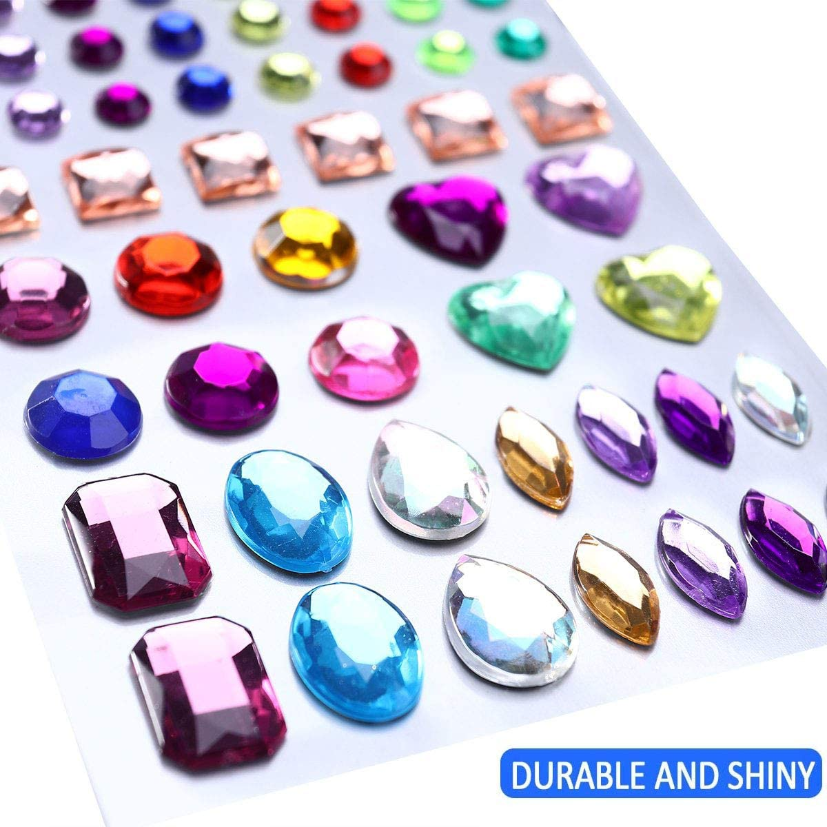 Square Round and Heart Shaped. Assorted Colors Unique Store 6 Sheets 486pcs Self-Adhesive Rhinestone Stickers Stick-on Crystal Gem Sheets for DIY Crafts Decoration