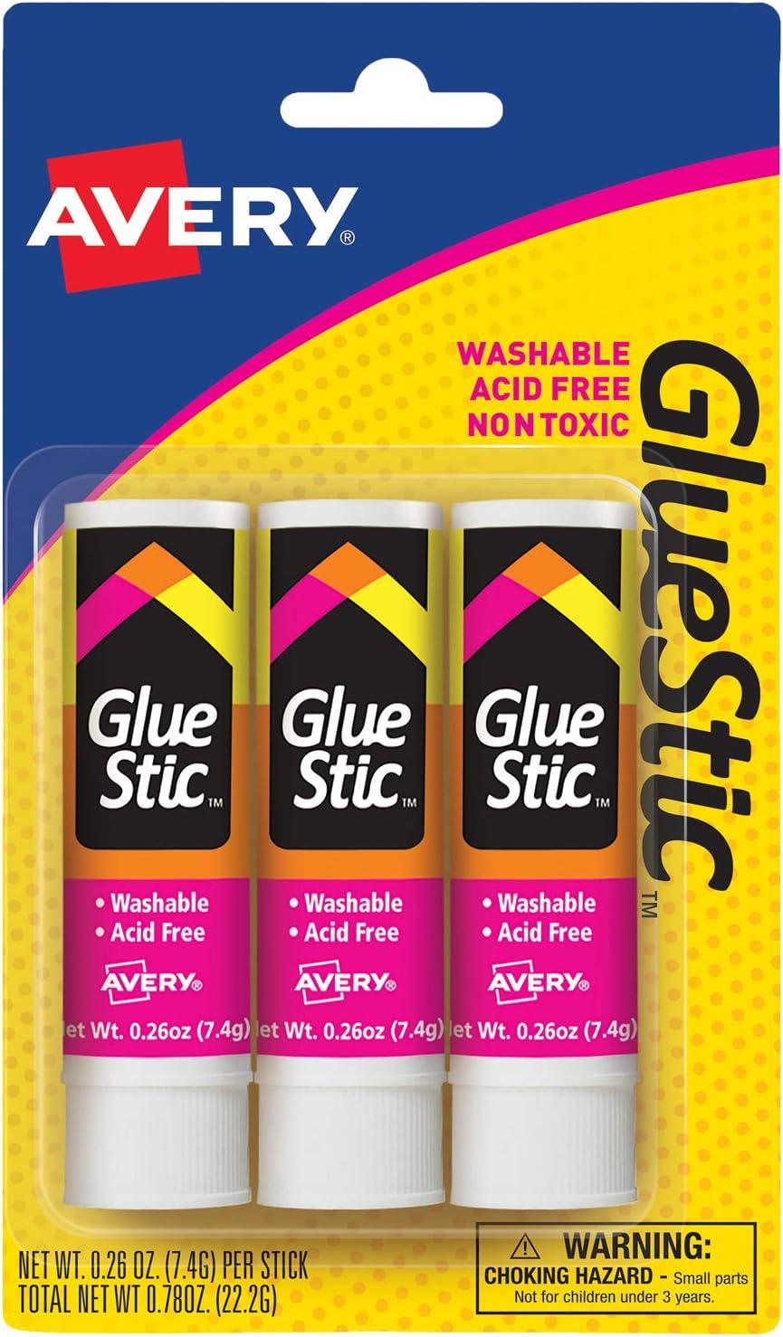 AVERY Glue Stick White, Washable, Nontoxic, 0.26 oz. Permanent Glue Stic, 3pk (00164), Clear