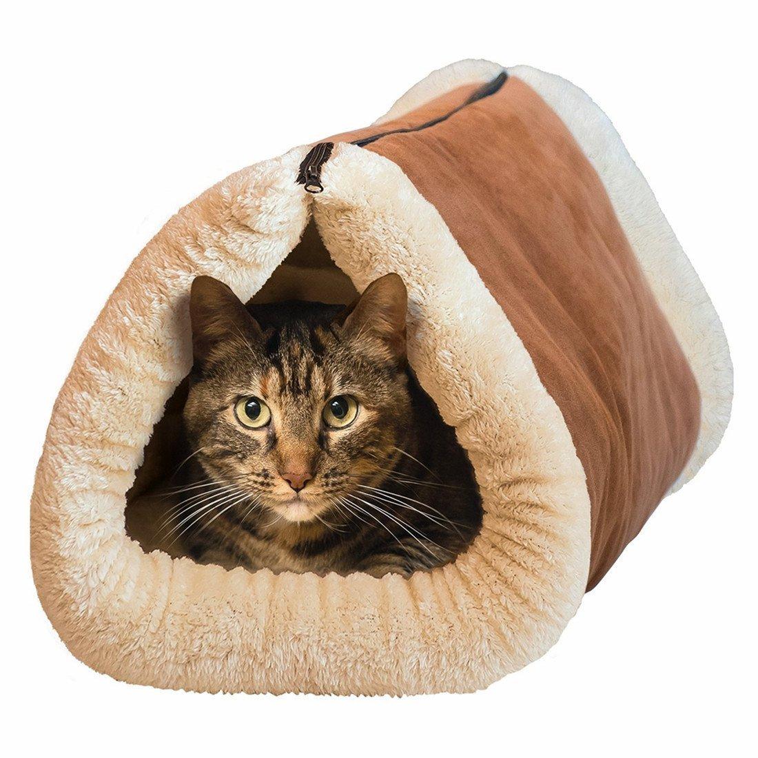 Maxcare Deluxe 2en 1Tube Tapis chat et lit, grand lit pour animal de compagnie avec auto-chauffant thermique Core Tapis et meubles fur-free chaud maison pour chat/chiot, en peluche pour animal Accessoires