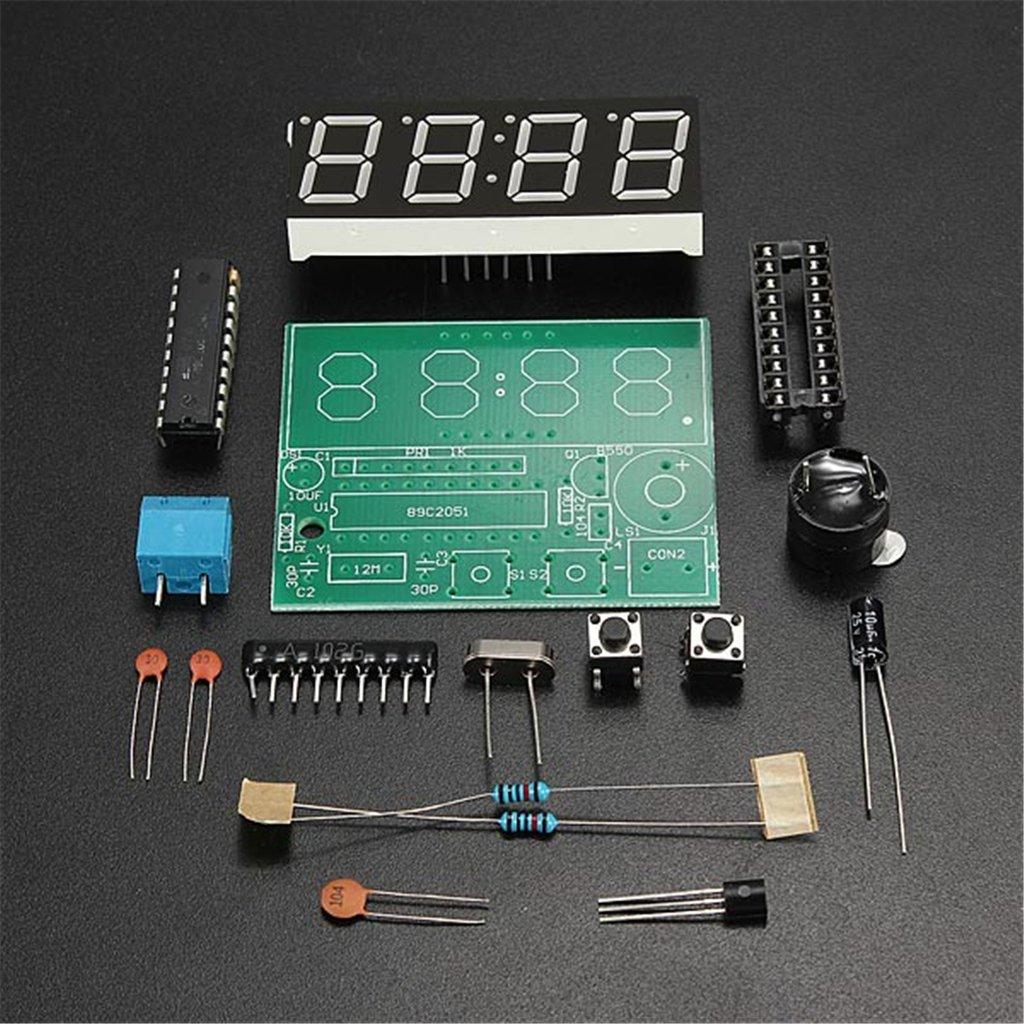 Daoki C51 4 Bits Digital Led Electronic Clock Production Circuit Project Diy Suite Kits Module Board Set Toys Games