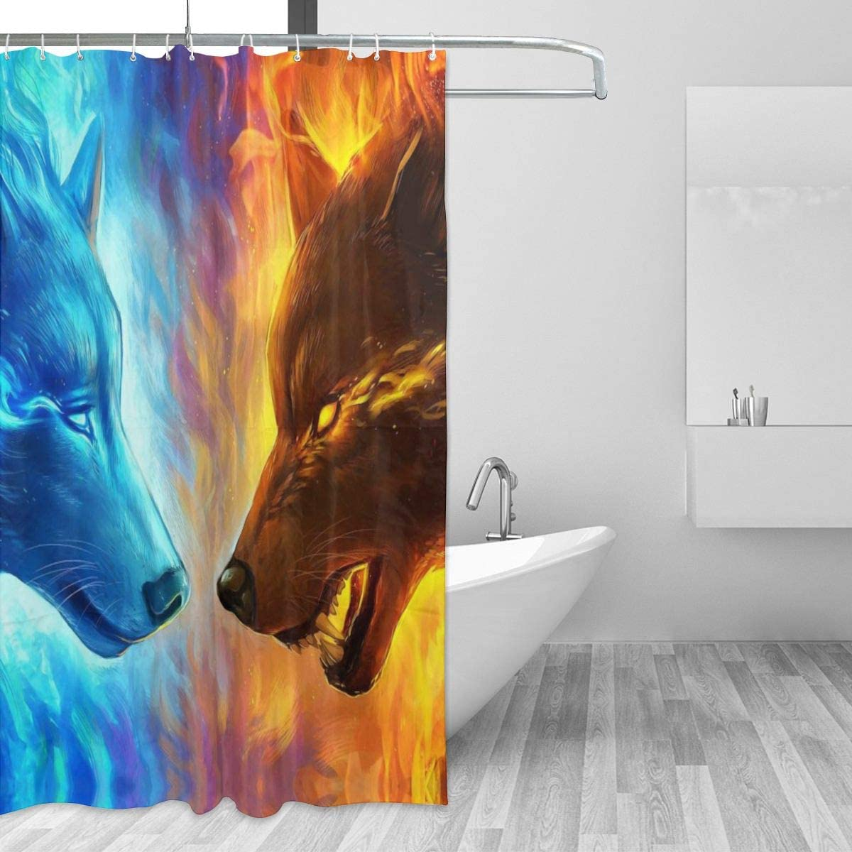 Ice and Fire Art Hockey Image Details about  /Winter Sports Decor Bathroom Shower Curtains