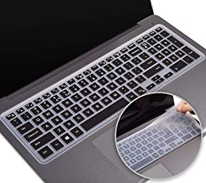 2 Pack Keyboard Cover fit Dell Inspiron 15 3000 5000 Series/New Inspiron 17 3000 Series/Insprion 17 7786 /Dell G3 15 17 Series/New Dell G5 15 Series/Dell G7 15 17 Series(Black+Clear)