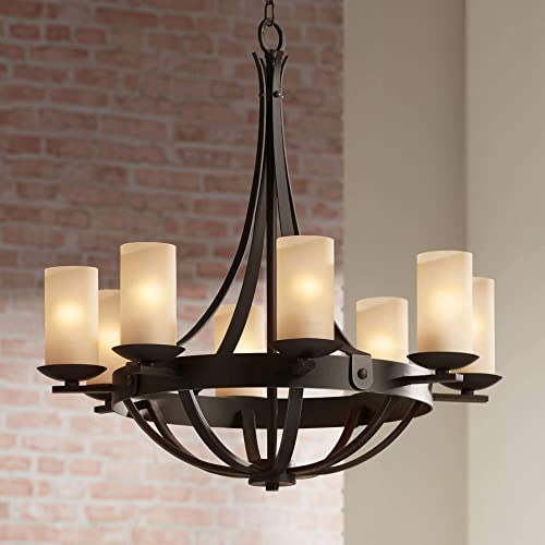 Sperry Industrial Bronze Chandelier 28″ Wide Rustic Farmhouse Cylinder Scavo Glass 8-Light Fixture