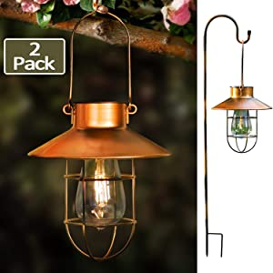 EKQ ROJOY Hanging Solar Lights Lantern Lamp with Shepherd Hook, Metal Waterproof Edison Bulb Lights for Garden Outdoor Pathway(2Pack/Copper)