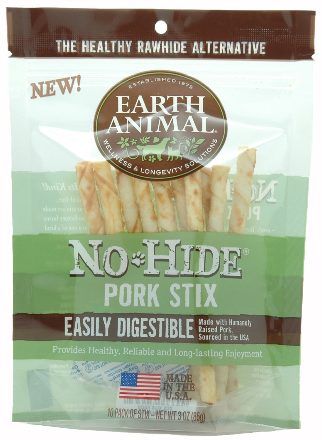 Earth Animal No Hide Pork Chews Stix Dog Treats 10 Pieces