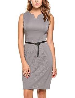 Zeagoo Damen Business Kleid Etuikleid Bleistiftkleid Sommerkleid Ärmellos  Knielang mit Gürtel ce9082ecbd