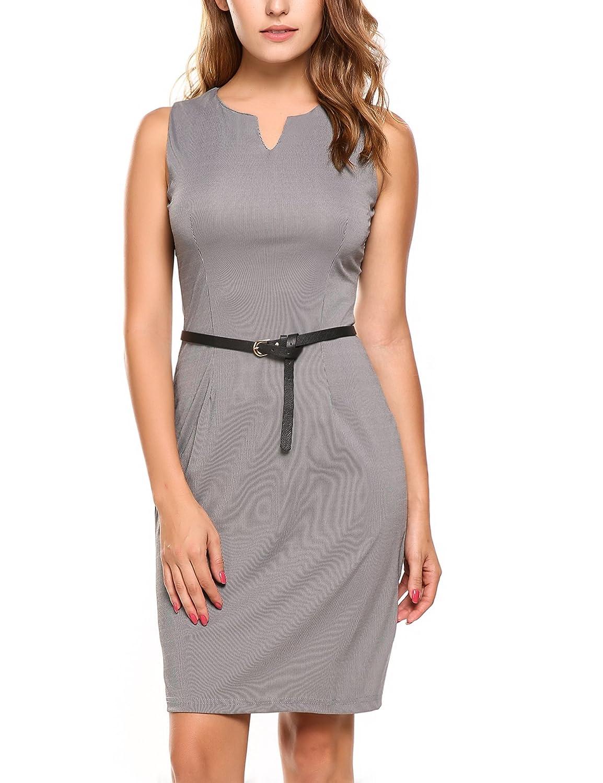 Zeagoo Damen Business Kleid Etuikleid Bleistiftkleid Sommerkleid Ärmellos Knielang mit Gürtel