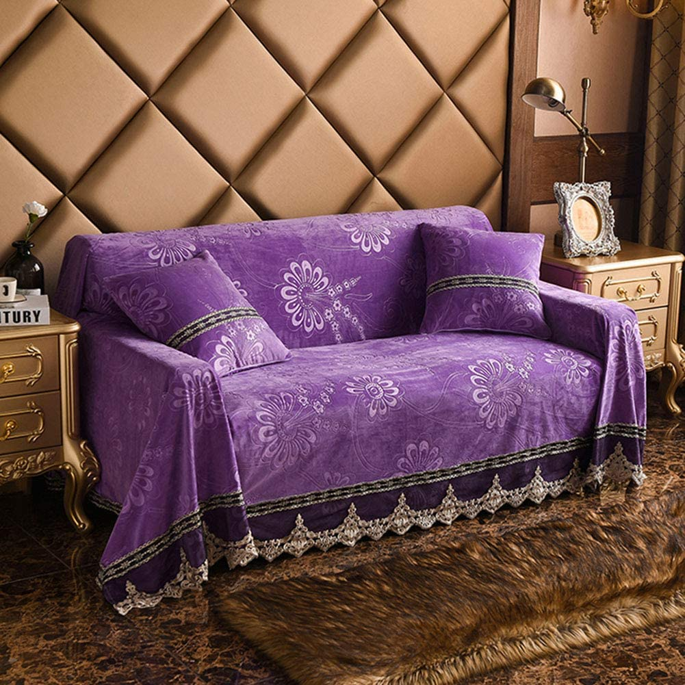 Thicken Plush Fabric Sofa Cover Lace Slip Resistant Slipcover Seat Couch Towel