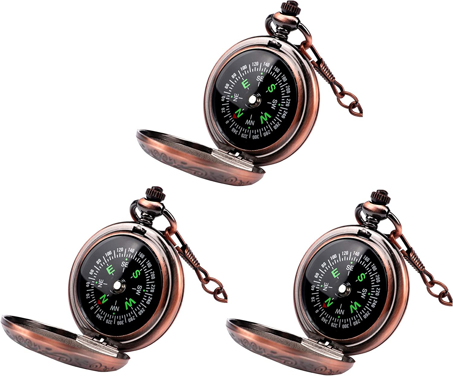 Laupha Survival Gear Compass Vintage Pocket Compass for Kids Classical Collection Portable Compass Accurate Waterproof for Hiking Outdoor Camping Motoring Boating Backpacking Survival Emergency Copper