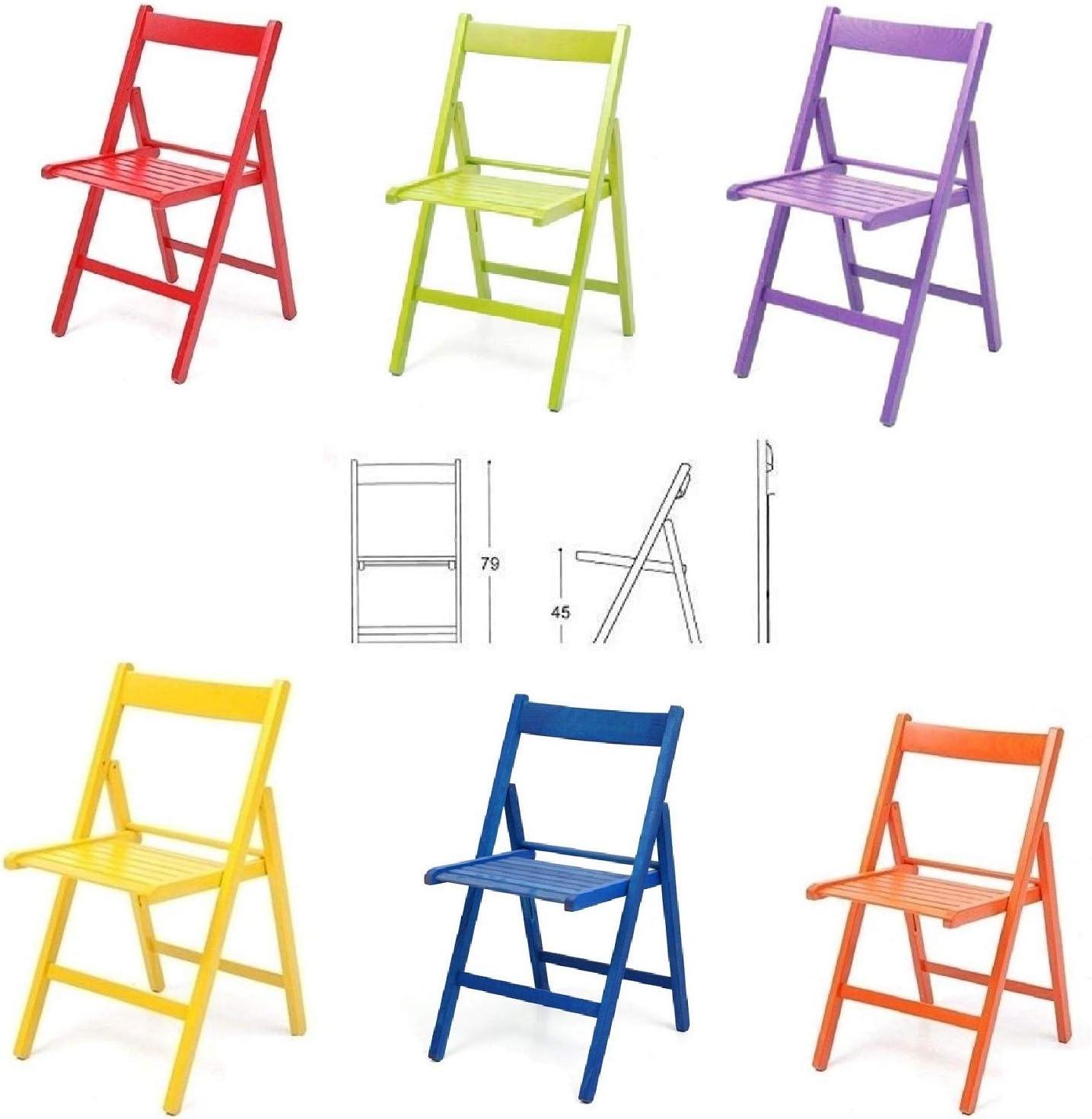 buiani 6 sillas de colores de madera barnizada, plegables ...