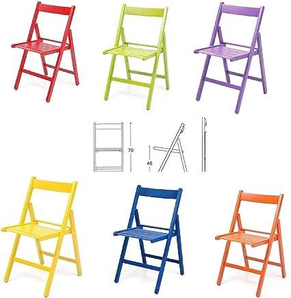 Buiani 6 Sedie Colorate Sedia In Legno Verniciato Richiudibile Per Campeggio Casa E Giardino Rosso Verde Viola Giallo Blu Arancione Amazon It Casa E Cucina