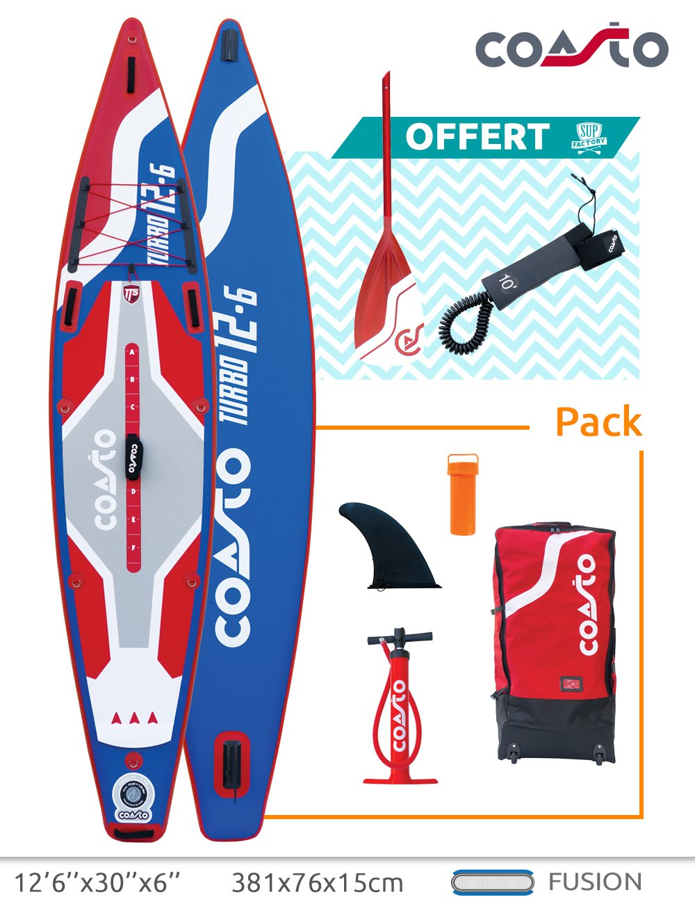 Stand up Paddle Inflable Termo doble piel Coasto TURBO 126: Amazon.es: Juguetes y juegos