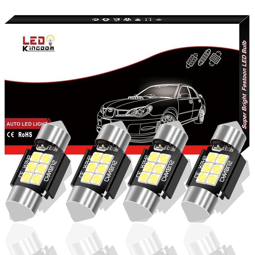 LEDKINGDOMUS 4 Pcs 36mm 1.5 Inch 6 SMD 3030 Canbus Error Free Festoon LED Bulb for Interior Car Lights Dome Map License Plate Trunk Light 6411 6413 6418 DE3423, Color White