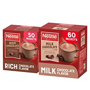 Nestle Hot Chocolate Variety Pack, Hot Cocoa Mix Pack | 50 Packets Rich Chocolate, 60 Packets Milk Chocolate (110 Packets)