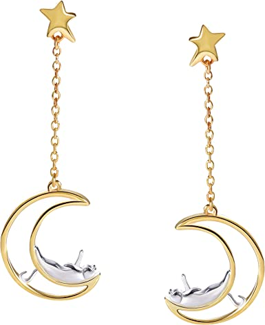 Cat earrings; dangling earrings; meow; cute cat; cats accessories; cat star; star earrings