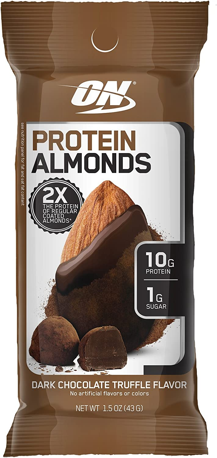 Optimum Nutrition Protein Almonds Snacks, On The Go Nutrition, Flavor: Dark Chocolate Truffle, Low Sugar, Made with Whey Protein Isolate, 12 Count