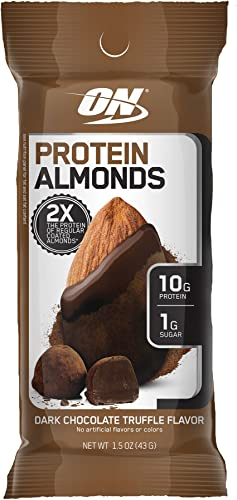 Optimum Nutrition Protein Almonds Snacks, On The Go Nutrition, Flavor Dark Chocolate Truffle, Low Sugar, Made with Whey Protein Isolate, 12 Count