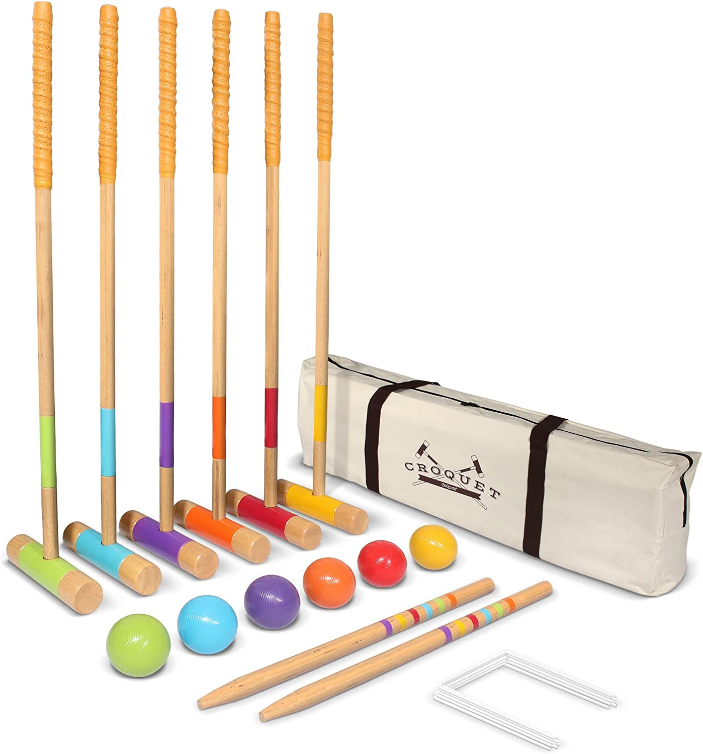 """GoSports Six Player Croquet Set for Adults & Kids - Modern Wood Design with Deluxe (35"""") and Standard (28"""") Options"""