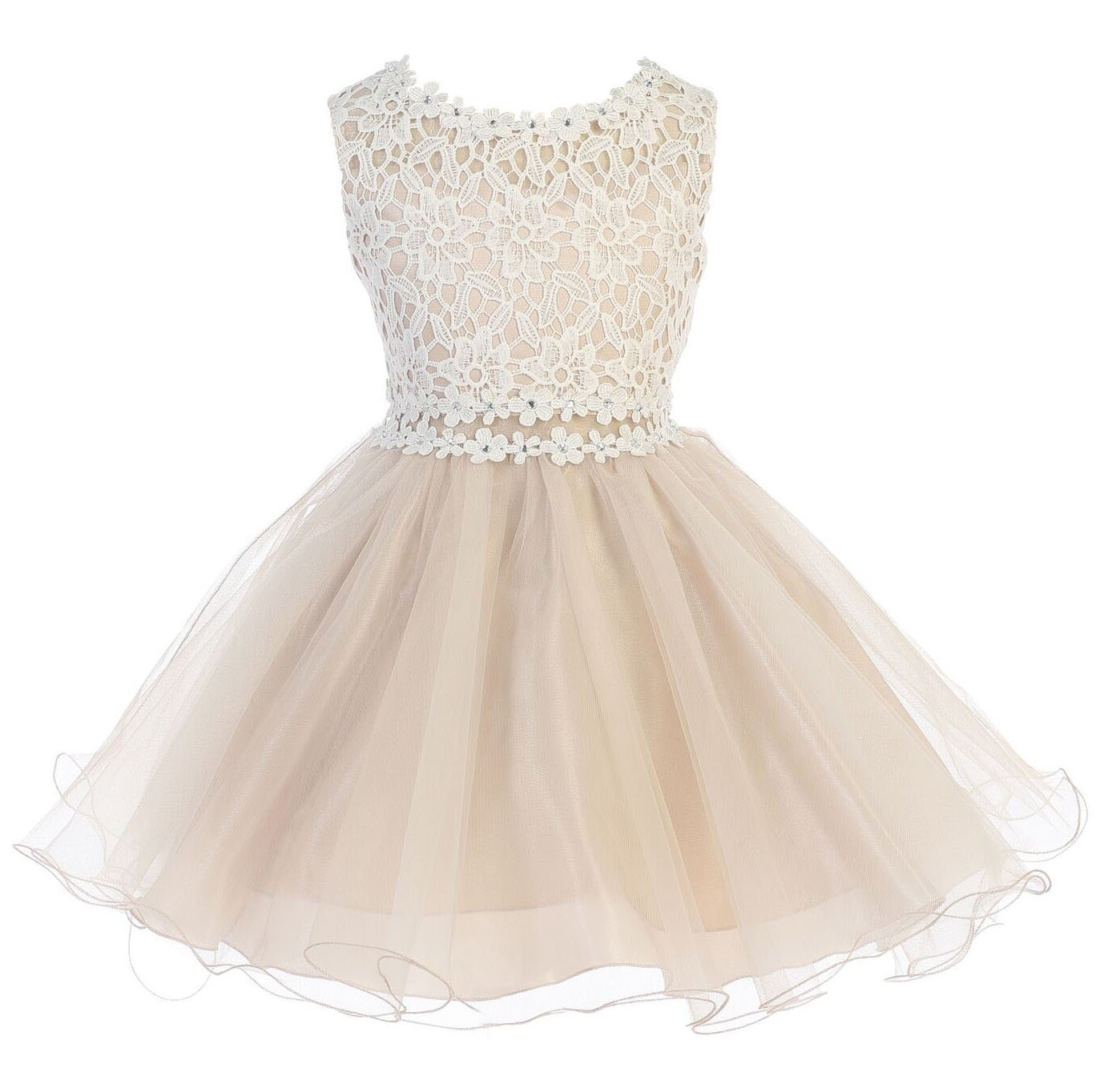 4c660d68675 Little Girls Taupe Lace Tulle Layers Junior Bridesmaid Flower Girl Dress  Size 2