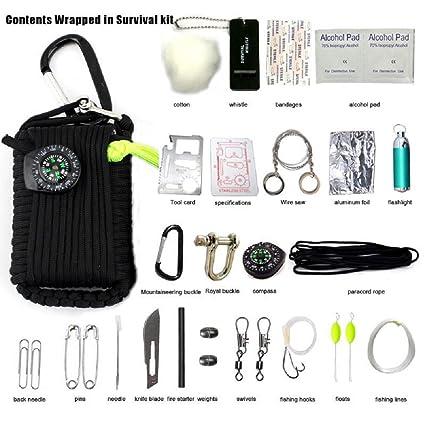 Kit de Supervivencia 29 en 1 - Incluyendo Cuerda de Emergencia, con Mosquetón, Cuchillo
