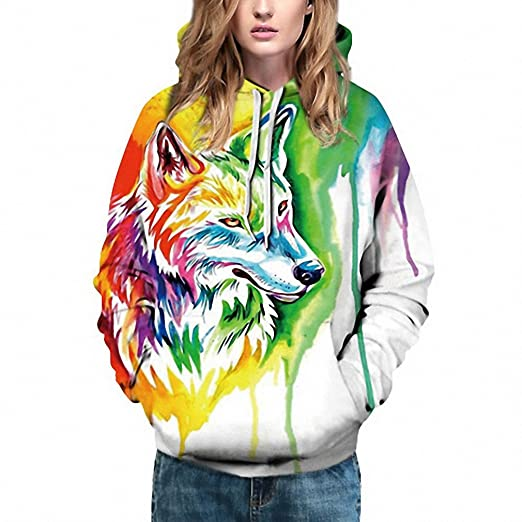 3D Animal Print Tracksuits Plus Size Hoody Sweatshirts NEW Couple Unisex Pullovers Picture color M
