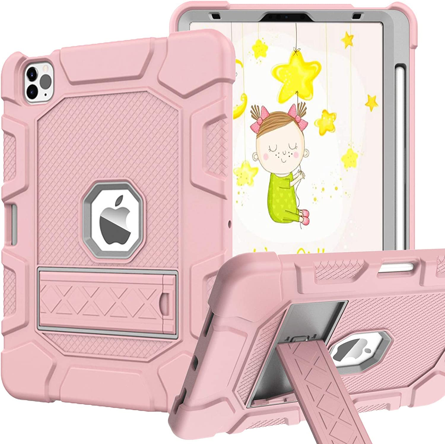 Rantice iPad Pro 11 Case 2020 & 2018, Heavy Duty Hybrid Shockproof Protection Cover Case Built with Kickstand and Pencil Holderfor iPad Pro 11 2nd Gen 2020 & 1st Gen 2018 (Rose Gold)