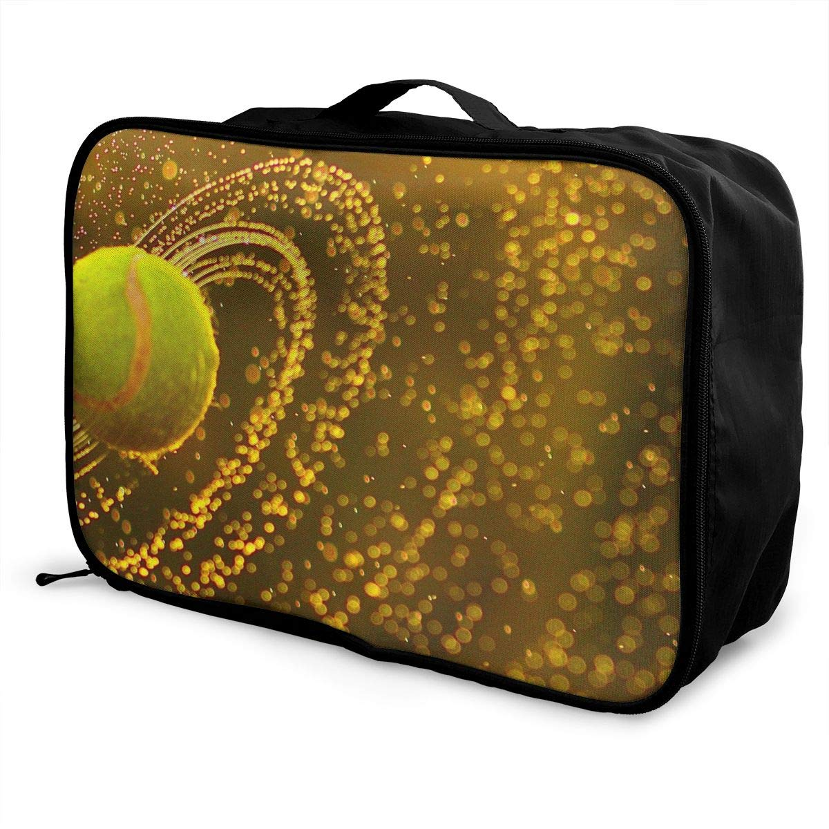 ADGAI Rotating Rain Tennis Canvas Travel Weekender Bag,Fashion Custom Lightweight Large Capacity Portable Luggage Bag,Suitcase Trolley Bag