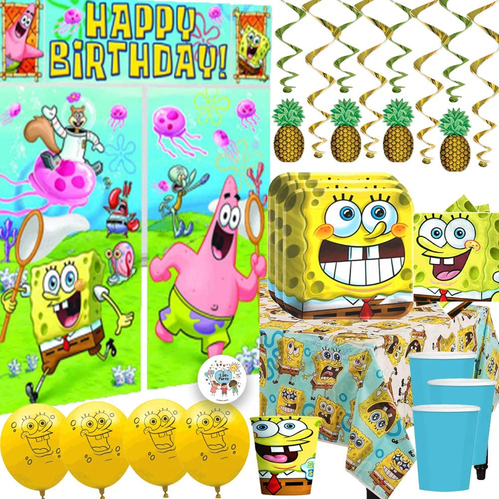 MEGA Spongebob Squarepants Birthday Party Supplies and Decorations Pack For  6 With Plates, Napkins, Cups, Tablecover, Balloons, Table Deco Kit, Scene