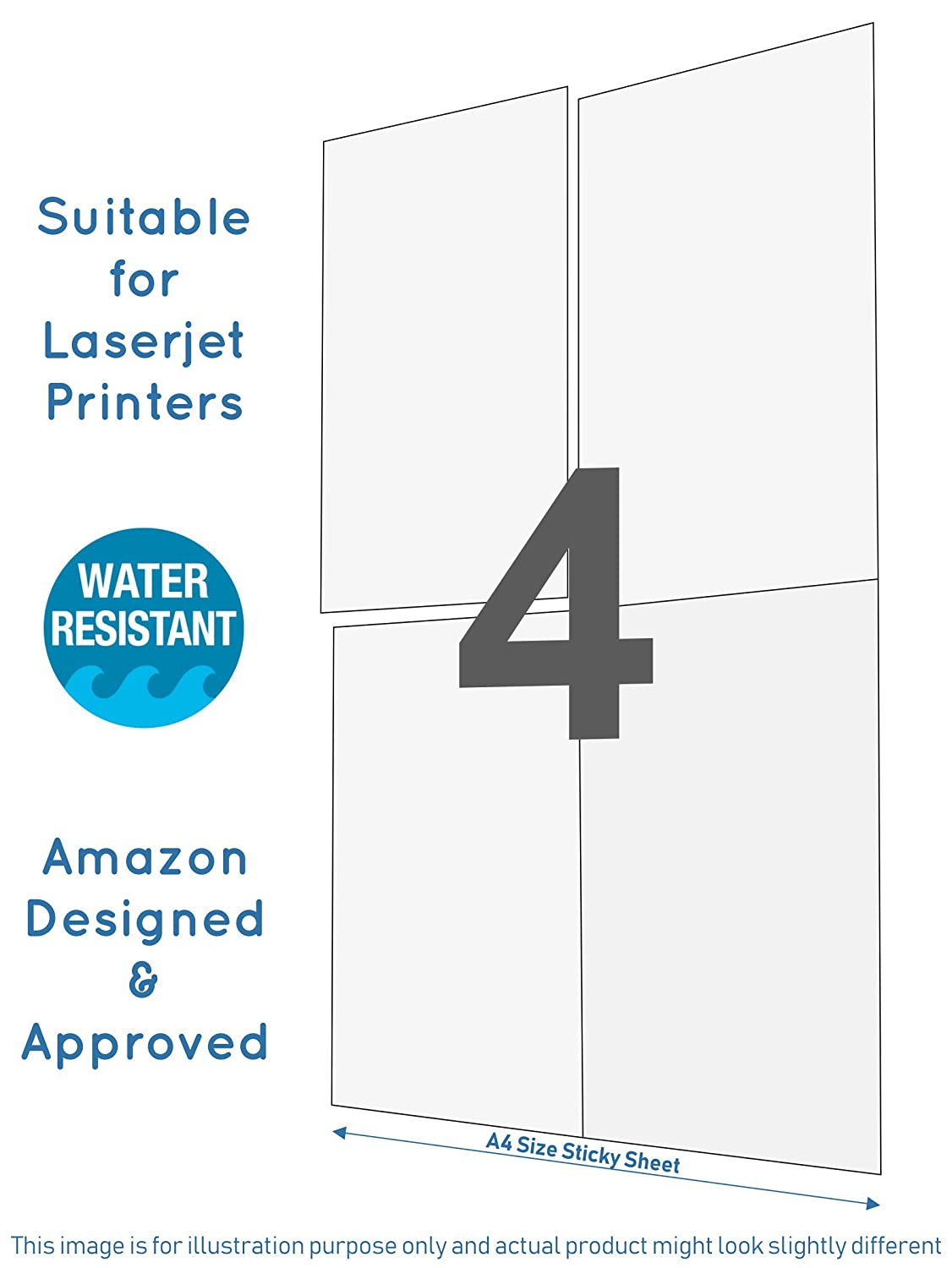 Securement Amazon Easyship Sticky Labels (A4 Size with 4 Pre-Cut  Labels/Sheet) - to Print Easyship Order - Suitable for Laserjet Printers  (100 Sheets)