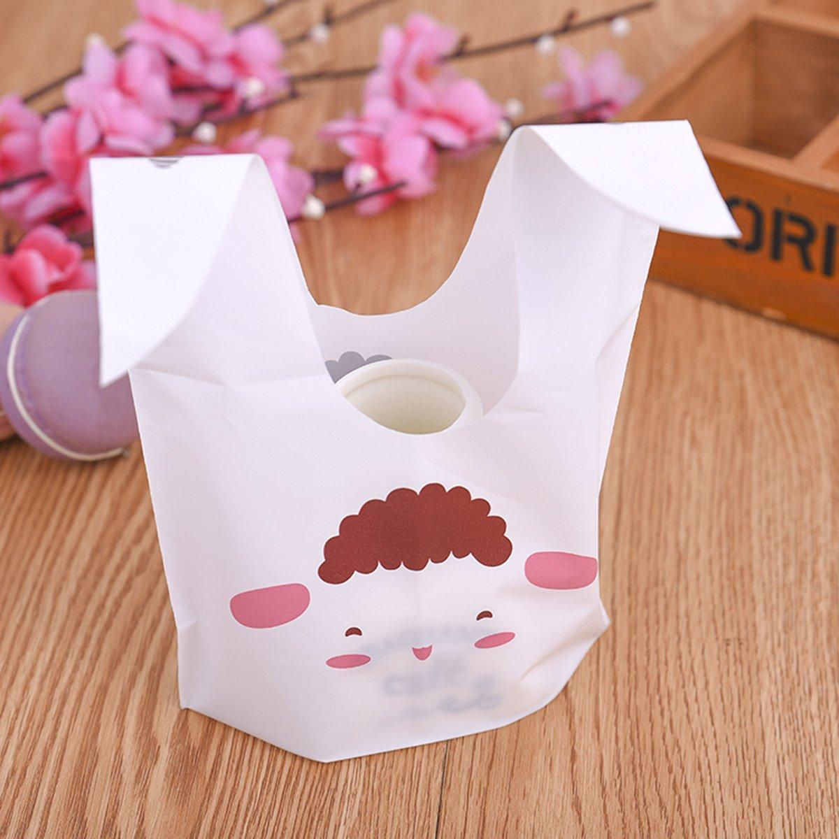 Ndier Sacs de Bonbons 90pcs Sac Cadeaux Biscuit Candy Bags avec d\'oreilles de lapin, sac de casse-croûte pour la fête, anniversaire, la nouvelle année