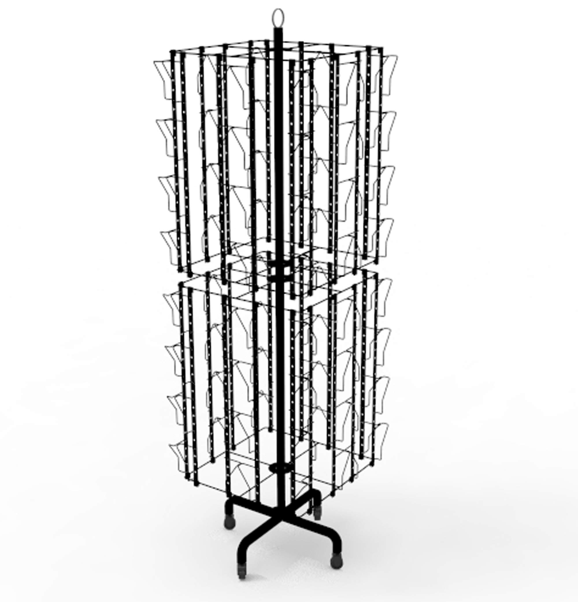 FixtureDisplays Up to 8.5'' Wide 64-Pocket Adjustable Display Rack, Double Tier Greeting Post Card Christmas Holiday Spinning Rack Stand 11603-L-DOUBLE-BLK