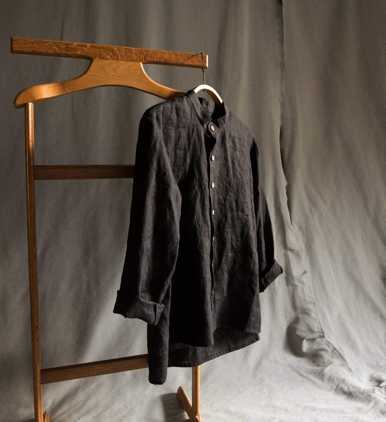 Linen men's shirt linen men's clothing linen black shirt for man grey linen long sleeve shirt linen t-shirt loose linen shirt buttoned