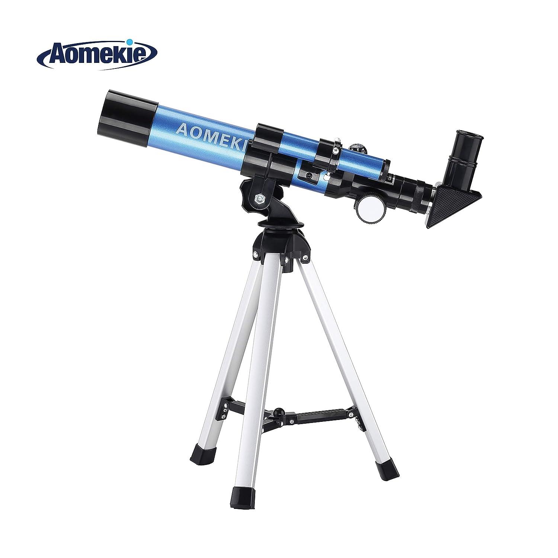 Aomekie Telescopio per Bambini Principianti Astronomico 40/400 Telescopio Astronomico con un Treppiede Mirino e Bussola AO2010