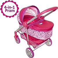 Baby Doll Stroller, 4-in-1 Pram/Stroller Gift Set, For Baby Dolls up to 18 Inches Tall, Baby Doll Stroller/Pram Play Set, For Girls Ages 3, 4, 5 & 6 Years Old