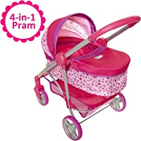 "Chicco Baby Doll Stroller, 4-in-1 Pram/Stroller Gift Set, For Baby Dollsup To 18"" Tall, Baby Doll Stroller/Pram Play Set, For Girls Ages 3, 4, 5 & 6 Years Old"