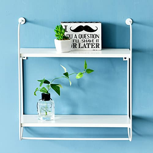 WELLAND Wesley 2-Tier Floating Shelf Metal Frame Display Wall Shelf Hanging Shelf w Towel Bar for Kitchen, Bedroom and Bathroom 16.9 W x 5.5 D x 17.5 H White