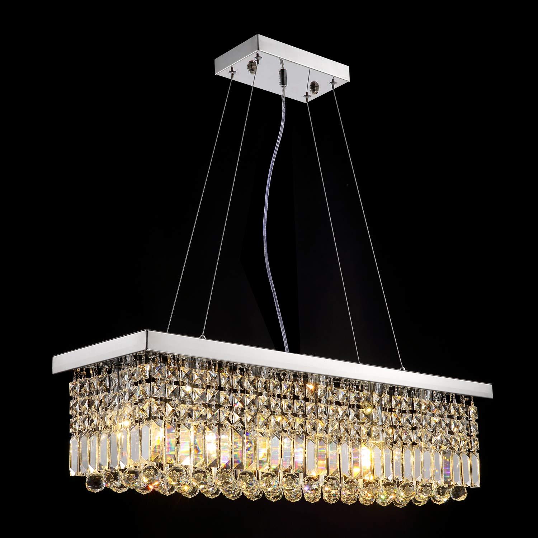 Siljoy Modern K9 Crystal Pendant Chandelier Lighting Rectangular 3 Way Wiring Diagram 2 Lights Using 143 Wire Ceiling Light Fixture For Dining Room Kitchen Island L315 X W99 H89